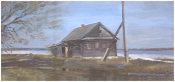 Старый дом у Волги | картон, масло 40Х80