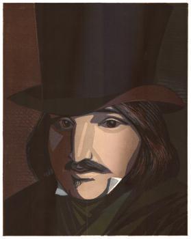 Н.В. Гоголь | цв. линогравюра 46х34