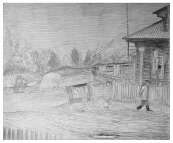 Улица в деревне | бумага, карандаш 35х45