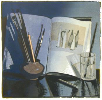 Натюрморт с книгой | цв. линогравюра  33х33